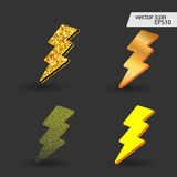 Lightning icons set. Vector illustration Royalty Free Stock Photos