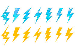 Lightning icons and symbols Stock Photography