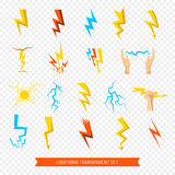 Lightning Icons Transparent Set. Flat set of bright colorful lightnings and fireball isolated on transparent background vector illustration Stock Photo