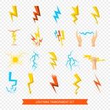 Lightning Icons Transparent Set Stock Photo