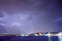 Lightning in Istanbul at night Stock Images