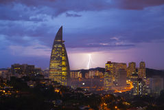 Lightning in Kuala Lumpur in the evening Royalty Free Stock Image