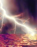 Lightning Lake. Digitally made as a lightning striking the lake Stock Illustration