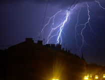Lightning in Latvia Riga. Thunder rainy night storm Royalty Free Stock Photos
