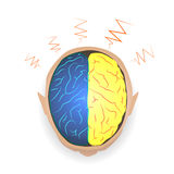 Lightning between left-brain and right brain idea, concept,  illustration. Royalty Free Stock Photos