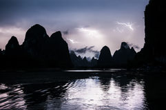 Lightning on the Li River near Yangshuo, Guangxi Province, China Stock Photo