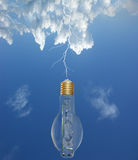 Lightning and light bulbs Royalty Free Stock Photography