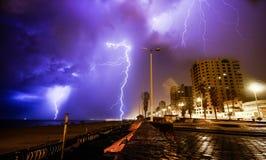 Lightning light very huge hit Gaza City. Lightning light very huge hit Gaza City in a day filled with lightning thunderstorm stock photo
