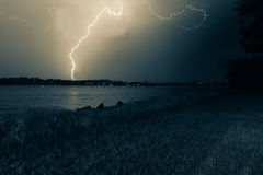 Lightning lightsup the sky Royalty Free Stock Image