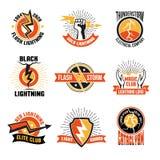 Lightning Logo Emblem Set stock illustration
