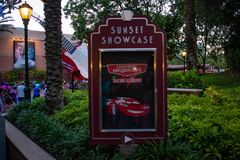 Lightning McQueen sign at Hollywood Studios. Orlando, Florida. June 06, 2019. Lightning McQueen sign at Hollywood Studios stock images