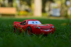 Lightning Mcqueen. Typically referred to by his surname McQueen, is an anthropomorphic stock car in the animated Pixar film Cars Royalty Free Stock Image