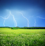 Lightning in meadow Stock Photo