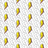 LIGHTNING MEMPHIS SEAMLESS VECTOR PATTERN. FLASH GEOMTERIC TEXTURE. 80S-90S DESIGN. ZIG ZAG POLYGON SHAPE. RETRO AGE Stock Illustration