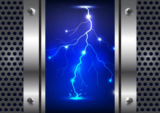 Lightning with metal gate vector illustration. Storm Stock Images