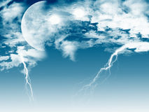 Lightning Moon Stock Photography
