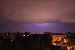 Lightning in Munich - Neuperlach Royalty Free Stock Photography