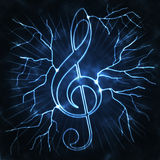 Lightning and musical sign. The abstract blue white illustration Stock Image