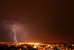 Lightning night. Lightening in the sky at city edmonton, alberta, canada Stock Images