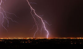 Lightning night in city edmonton. Lightening in the sky at city edmonton, alberta, canada Royalty Free Stock Photo