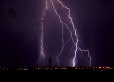 Lightning at night Stock Images