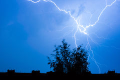 Lightning in the night sky Stock Photos