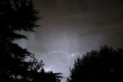 Lightning. In the night sky Stock Images