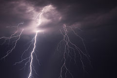 Lightning in the night sky Stock Photography