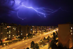 Lightning, night storm Stock Photos