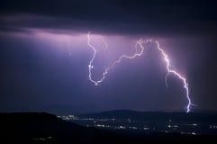 Lightning at night Stock Photos