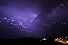 Lightning Night Storm Rain Stock Photography