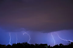 Lightning in the night Stock Photo