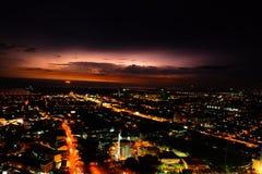 Lightning and night view of malacca, malaysia Royalty Free Stock Photo