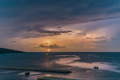 Lightning in the ocean. Of Thailand Stock Photography