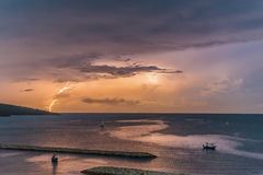 Lightning in the ocean. Of Thailand Stock Images
