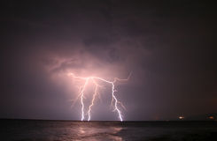 Lightning At Open Sea. Severe Lightning At Open Sea Royalty Free Stock Images