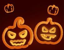 Lighting pumpkins 3D vector illustration