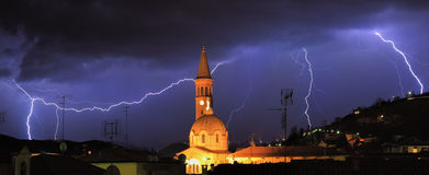Lightning over Alba and surrounding hills, Italy. Royalty Free Stock Image