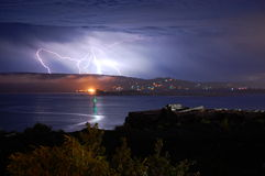 Lightning over the Bay Stock Photos