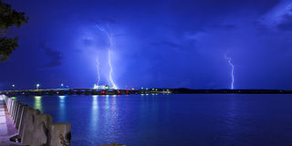 Lightning over bridge Royalty Free Stock Image