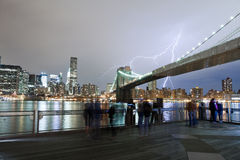 Lightning over Brooklyn Bridge Royalty Free Stock Images