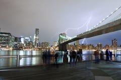 Lightning over Brooklyn Bridge Royalty Free Stock Images