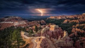 Lightning Over A Canyon
