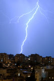 Lightning over the city. Of Te-Aviv, Israel Stock Image