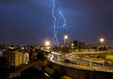 Lightning over the city. Of Te-Aviv, Israel Royalty Free Stock Photo