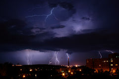 Lightning Over The City. Dark night and lightning over the city Stock Photography