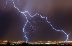 Lightning over the city. Lightning over the Salt Lake Valley royalty free stock image