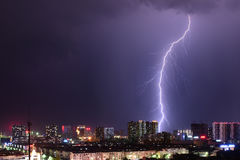 Lightning. The lightning over the city Royalty Free Stock Photos