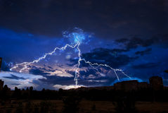 Lightning over city Stock Photography