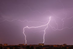 Lightning over city Royalty Free Stock Images